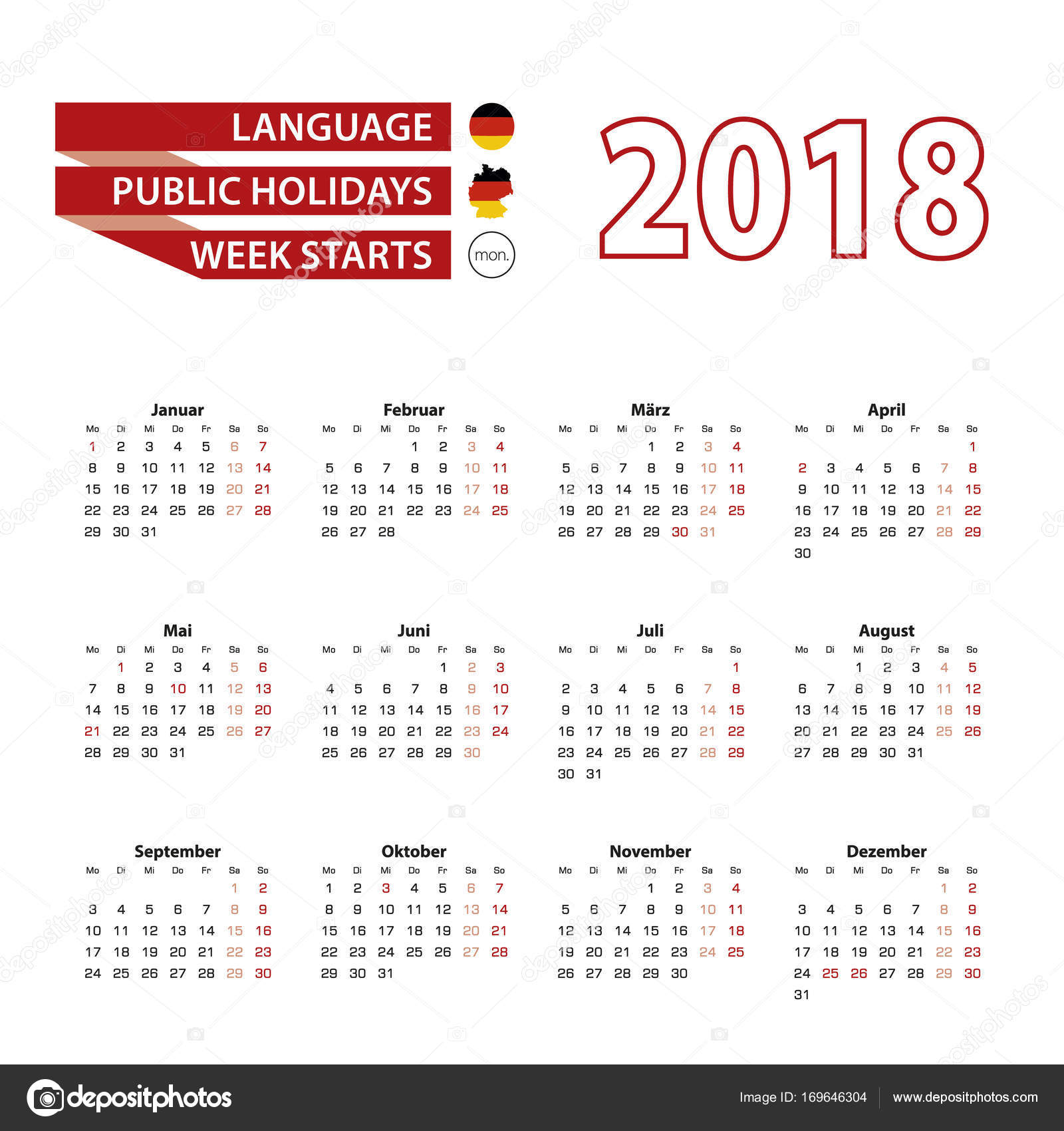calendar 2018 in germany language with public holidays the country of german in year 2018 week starts from monday vector illustration vector by boldg