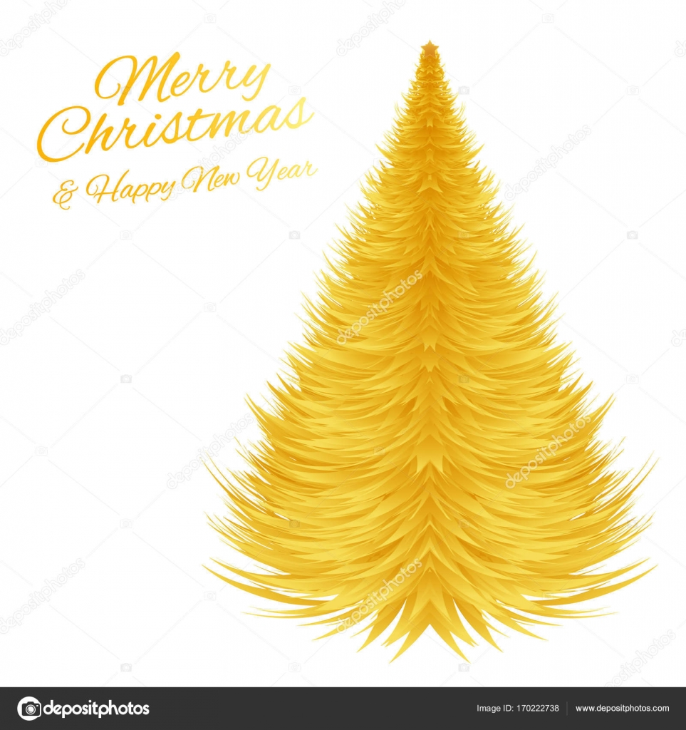 Golden Christmas Tree Vector Greeting Card For Christmas And New