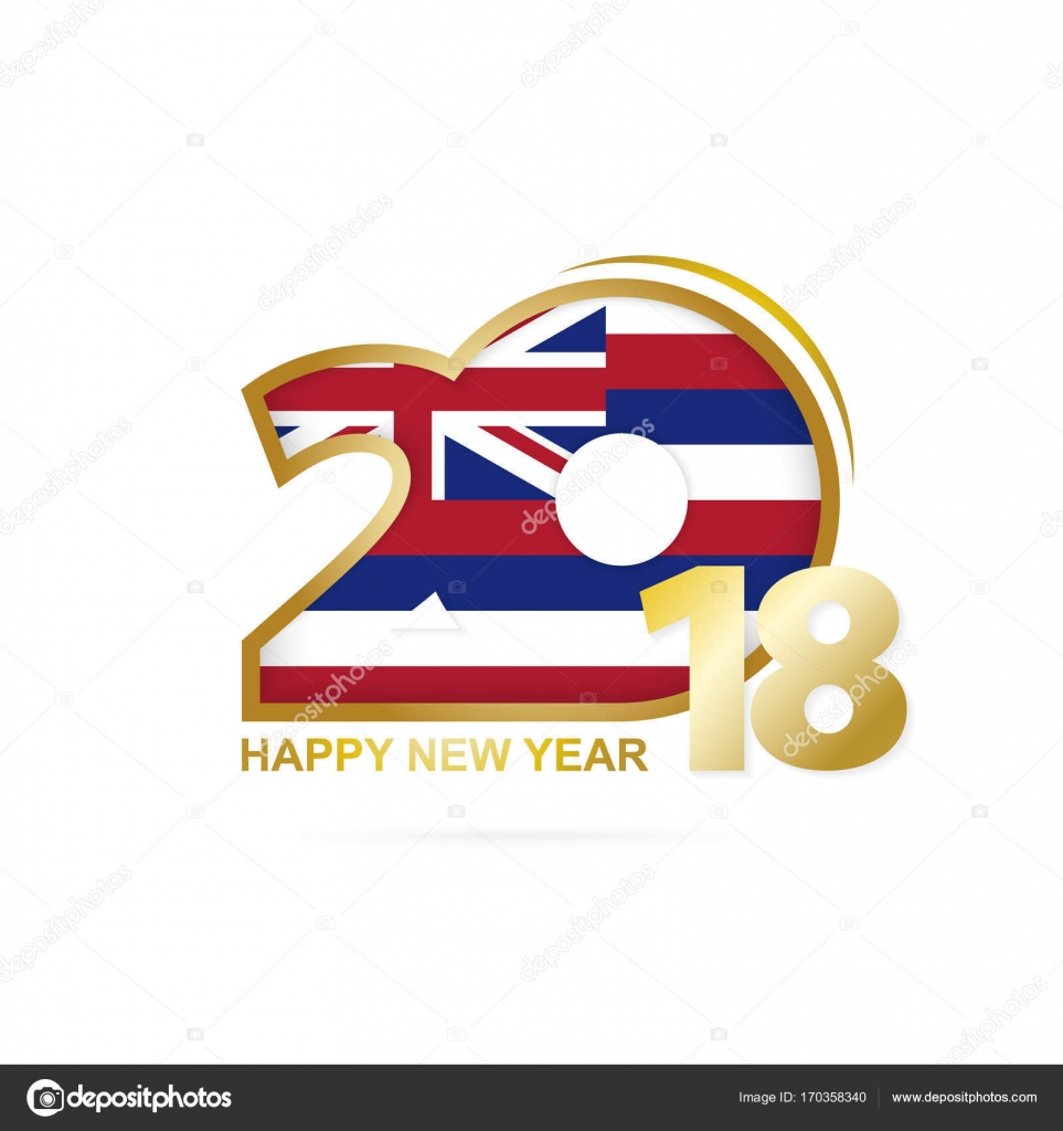 year 2018 with hawaii flag pattern happy new year design stock vector