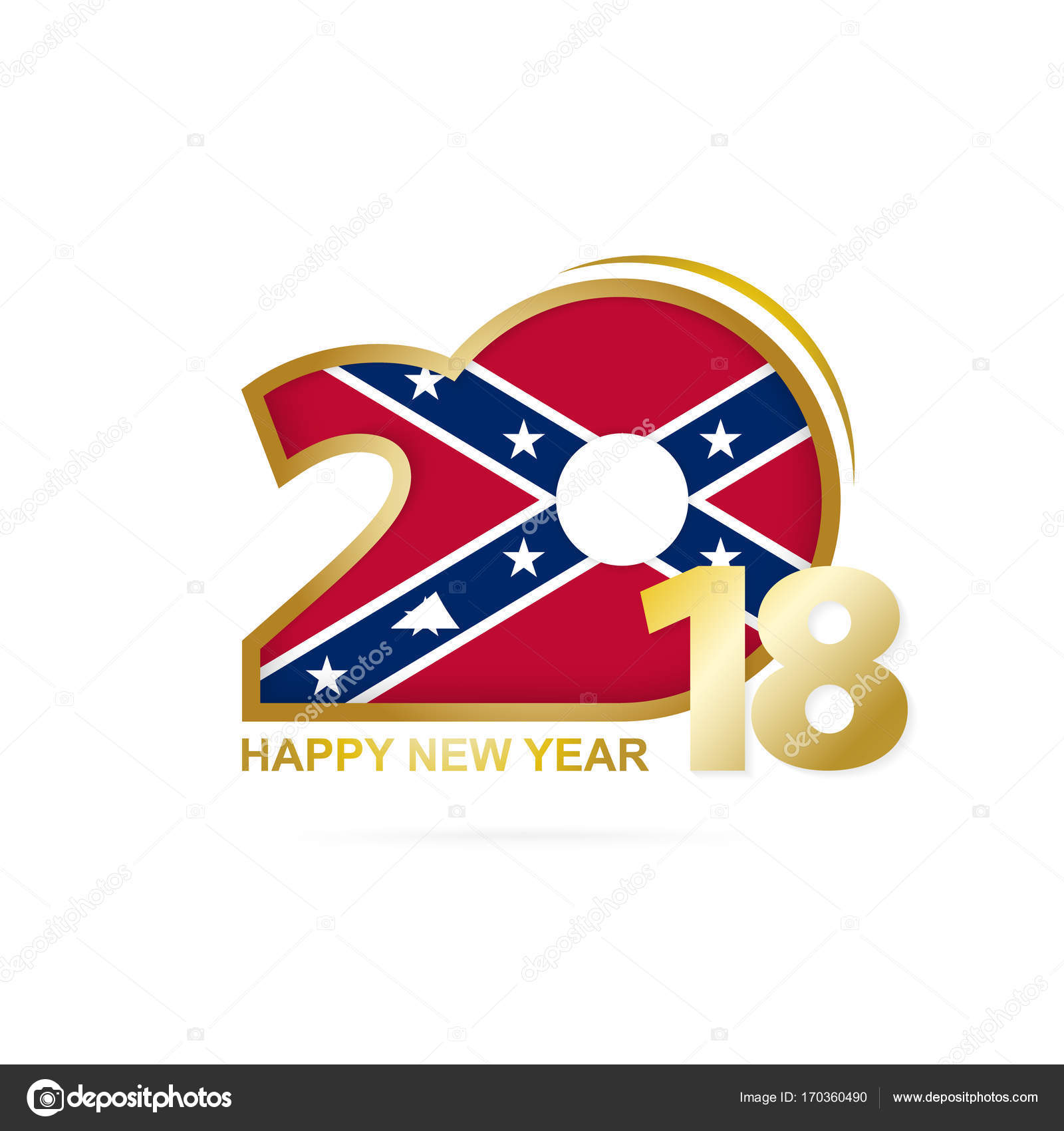year 2018 with confederate flag pattern happy new year design