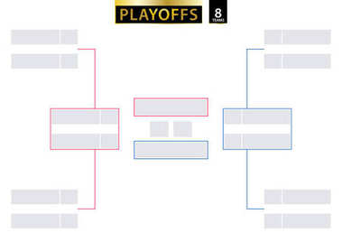 8 Team Elimination Bracket. Tournament Bracket for playoffs on white background.