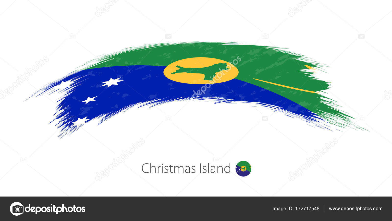 Christmas Island Flag.Flag Of Christmas Island In Rounded Grunge Brush Stroke