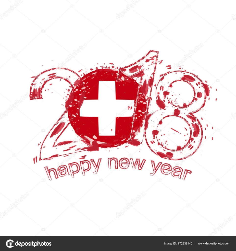 2018 happy new year switzerland grunge vector template for greeting card calendars 2018 seasonal