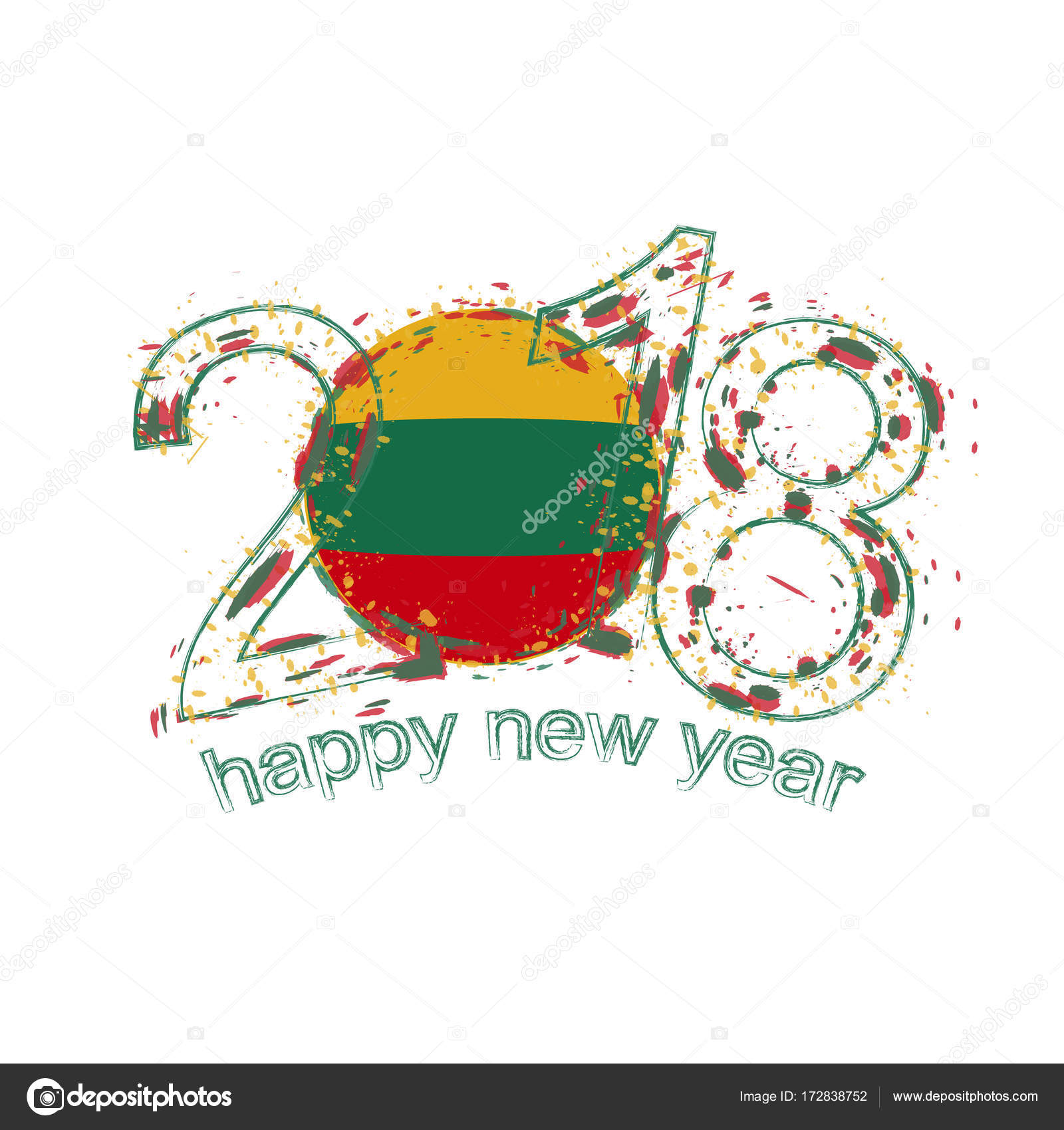 2018 happy new year lithuania grunge vector template for greeting card calendars 2018 seasonal