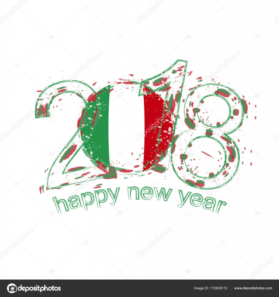2018 Happy New Year Italy grunge vector template for greeting card ...