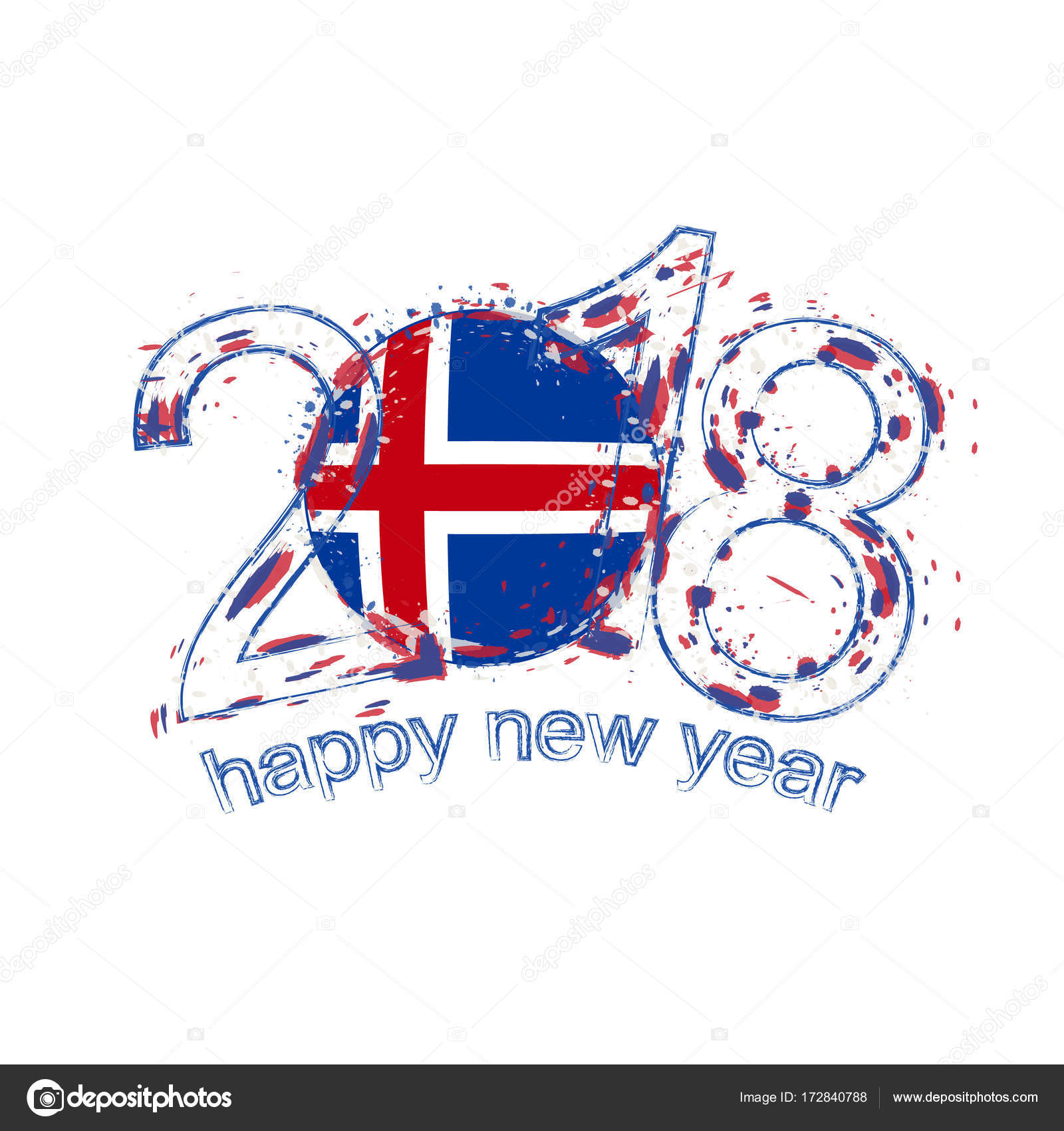 2018 Happy New Year Iceland grunge vector template for greeting card ...