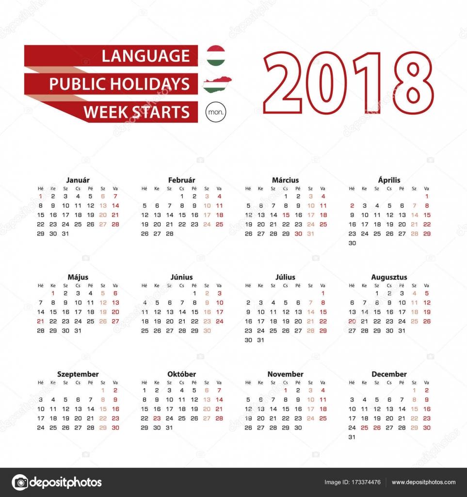 国民とハンガリー語のカレンダー...