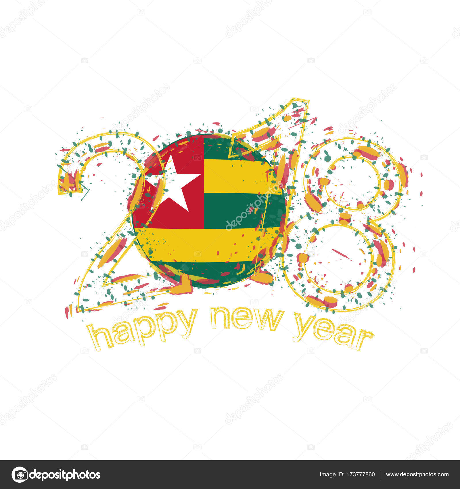 2018 Happy New Year Togo grunge vector template for greeting card ...
