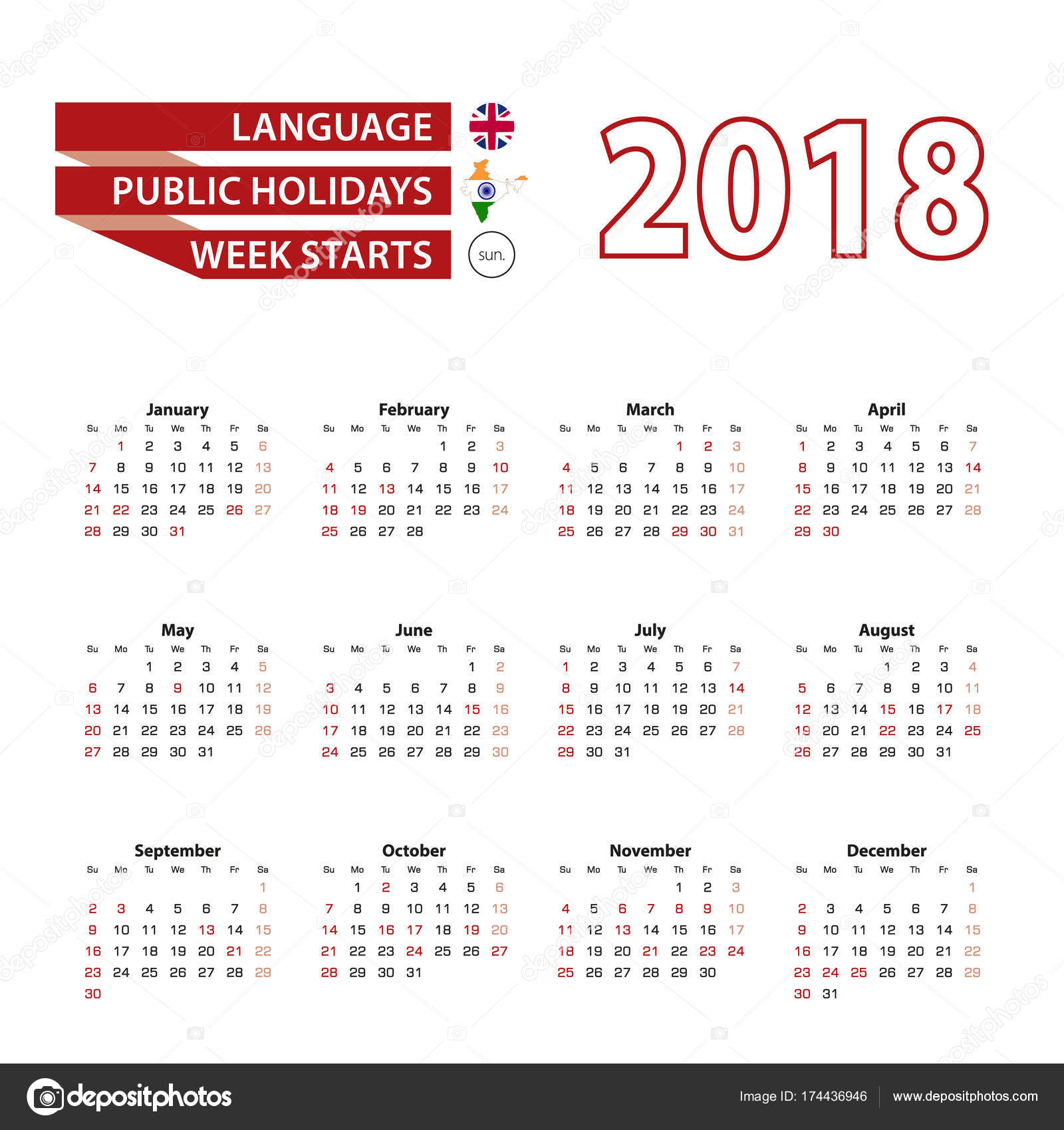 calendar 2018 in english language with public holidays the count