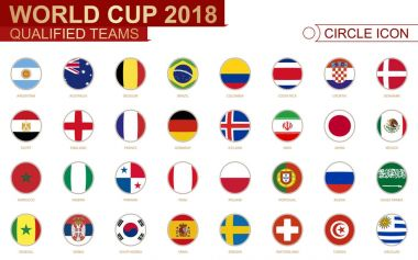 World Cup 2018, all qualified teams flags.