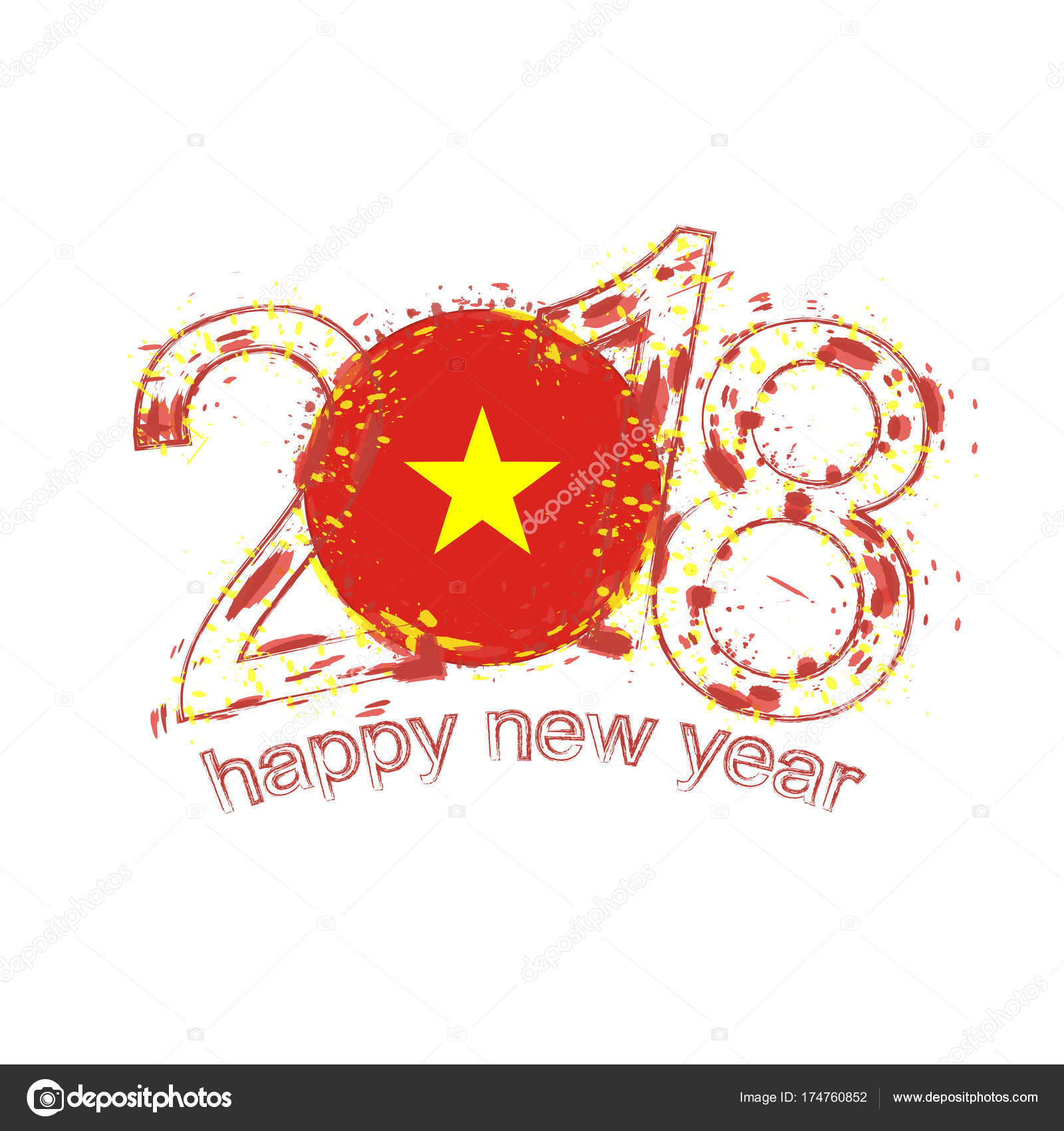 2018 happy new year vietnam grunge vector template for greeting card calendars 2018 seasonal flyers christmas invitations and other vector by boldg
