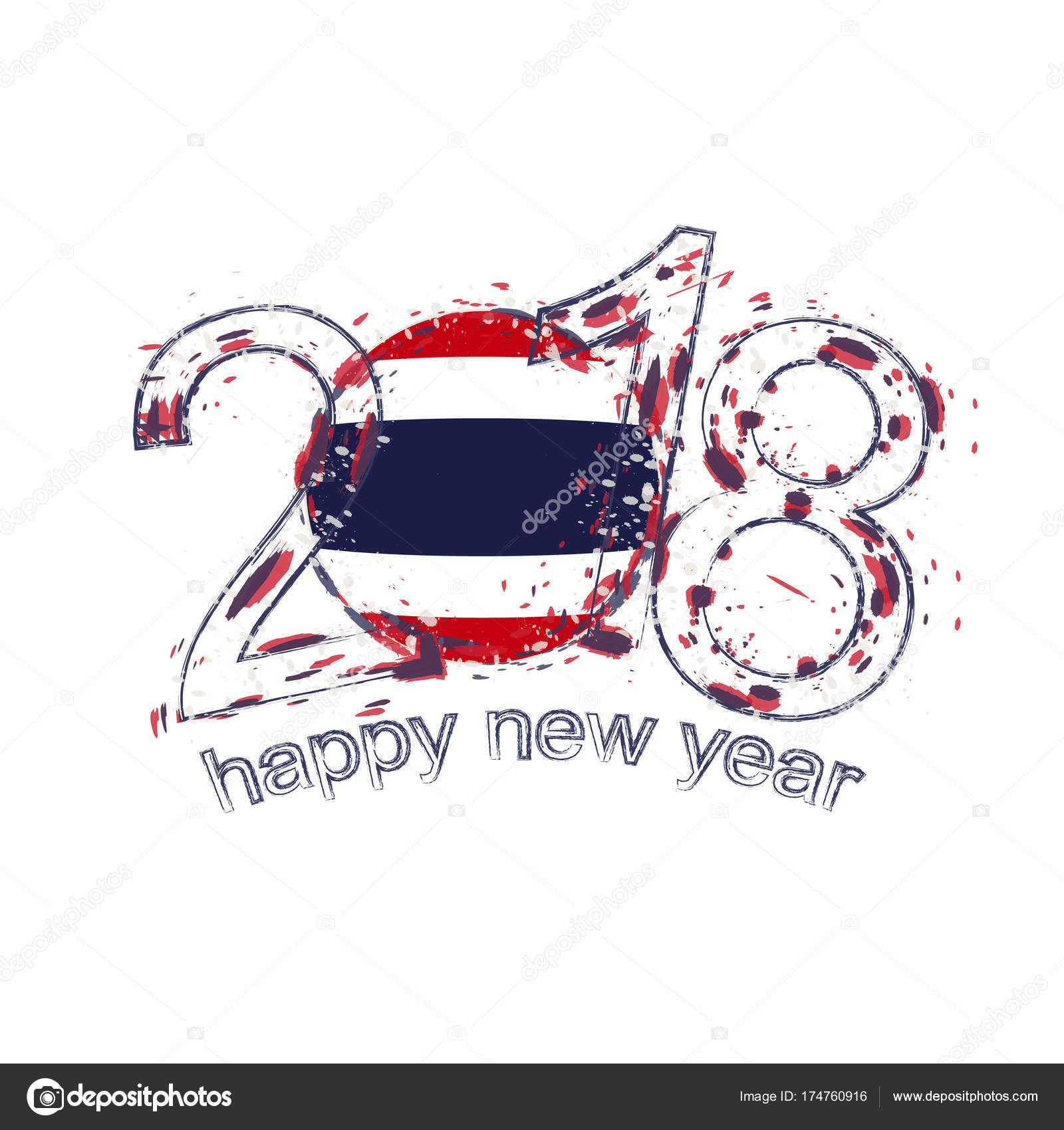 2018 happy new year thailand grunge vector template for greeting card calendars 2018 seasonal flyers christmas invitations and other vector by boldg