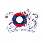 2018 Happy New Year Laos grunge vector template for greeting card.