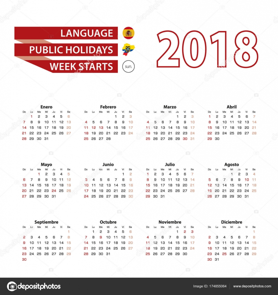 Calendario Con Week 2018.Calendar 2018 In Spanish Language With Public Holidays The