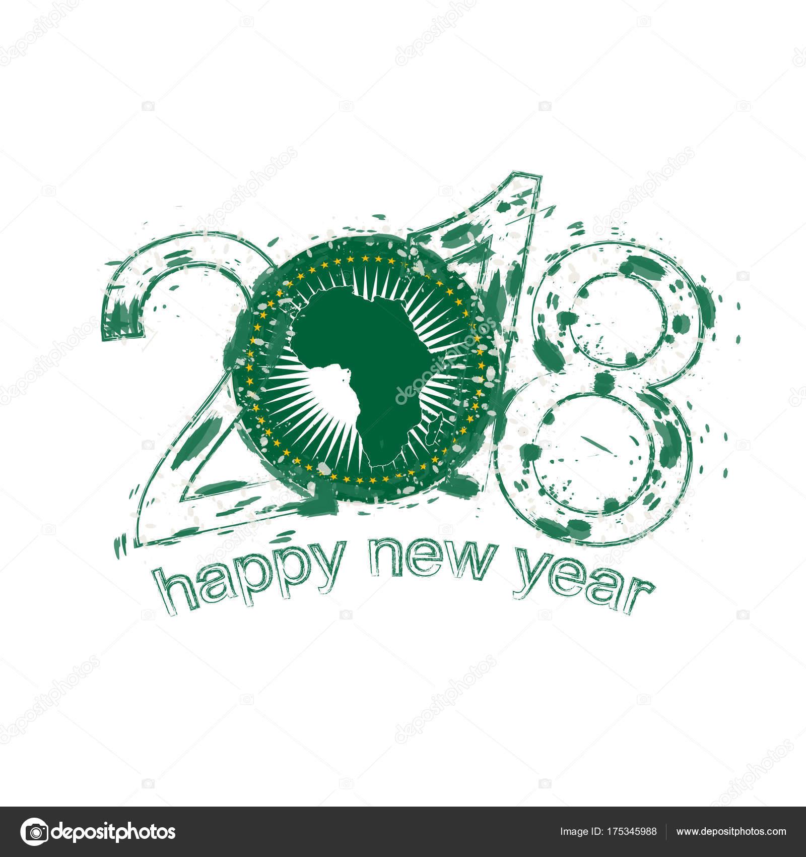 Carte Union Africaine.Modele De Vector Grunge Happy New Year Union Africaine De