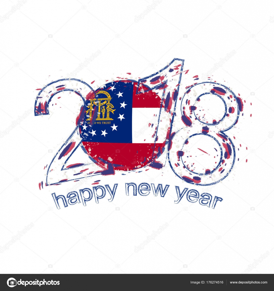 2018 Happy New Year Georgia Us State Grunge Vector Template For