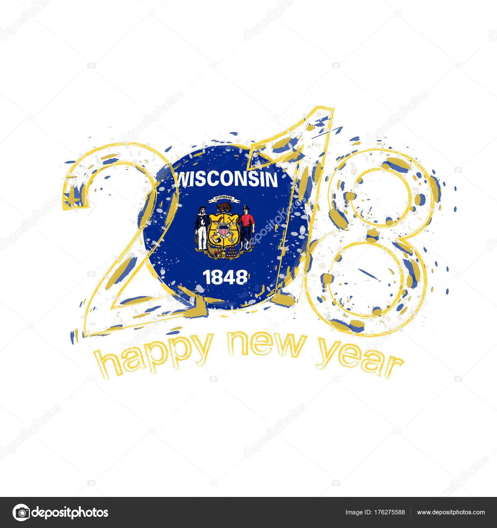 2018 Happy New Year Wisconsin US State grunge vector template for ...