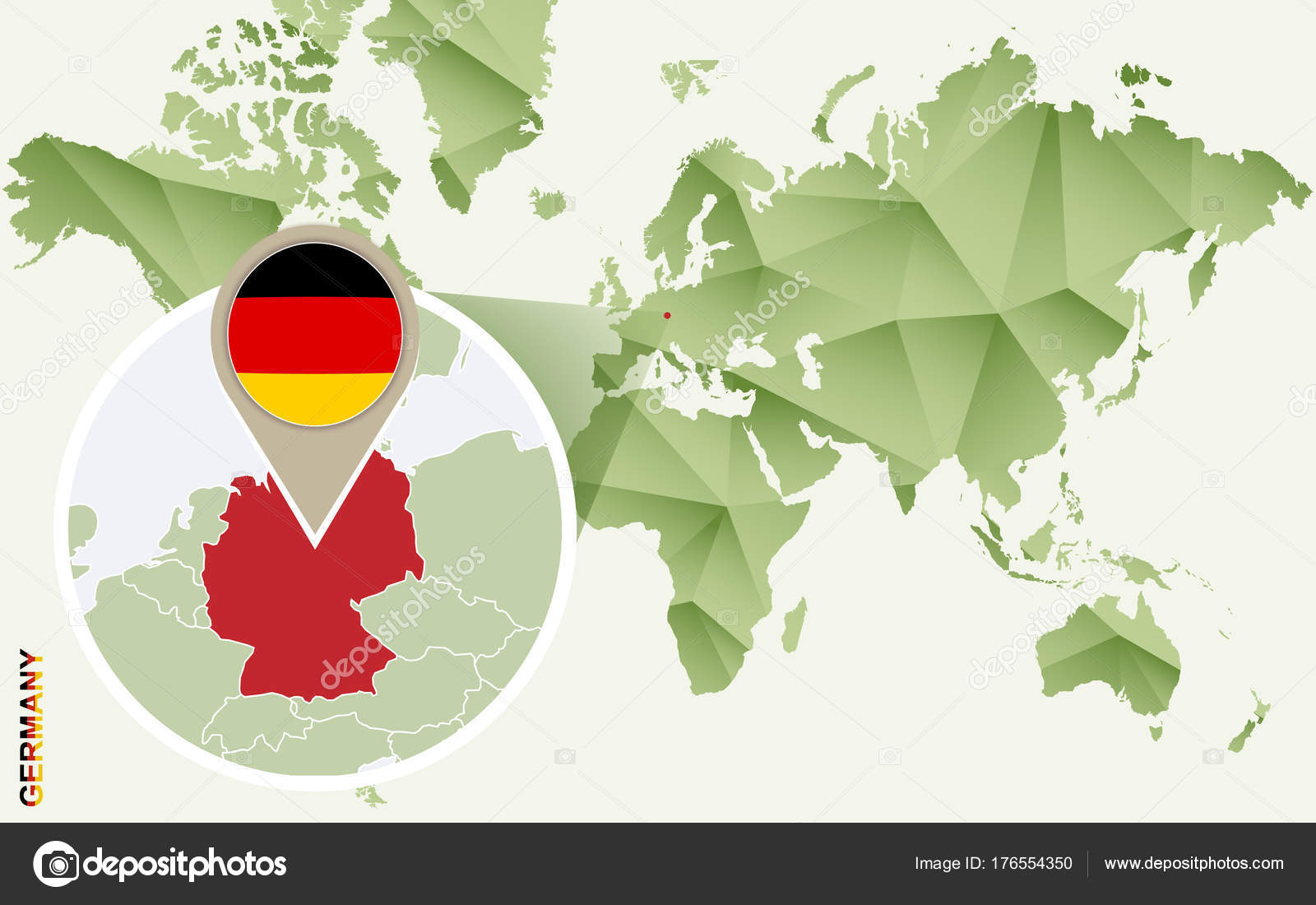 Infographic for Germany, detailed map of Germany with flag ...