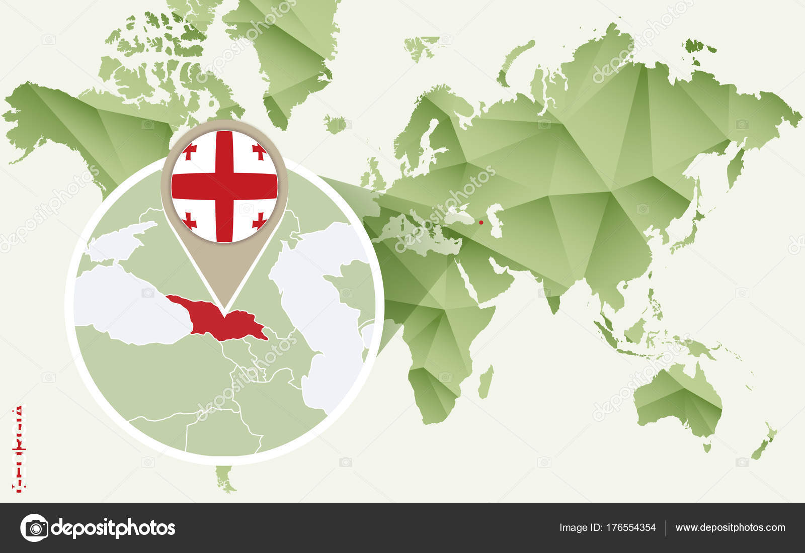 Infographic for Georgia, detailed map of Georgia with flag. — Stock on
