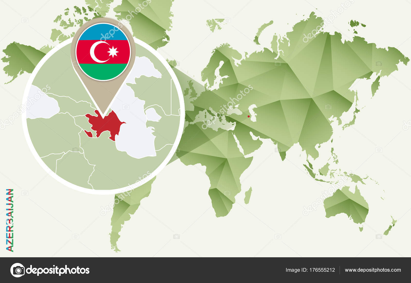 Infographic For Azerbaijan Detailed Map Of Azerbaijan With Flag Stock Vector C Boldg 176555212
