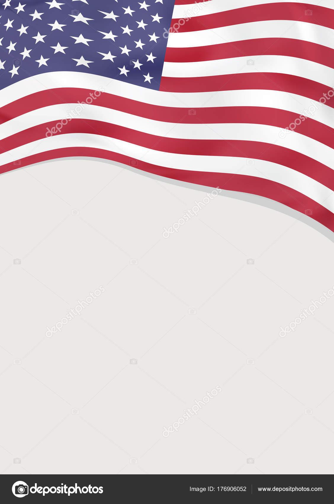 Prospekt Design mit Flagge der Vereinigten Staaten von Amerika ...