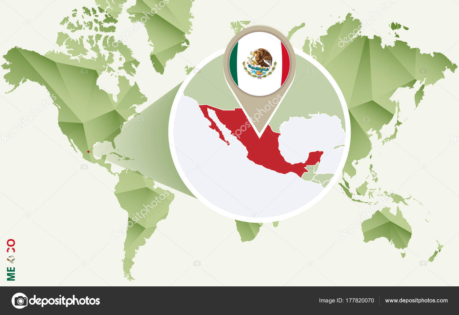 Infographic for Mexico, detailed map of Mexico with flag ...