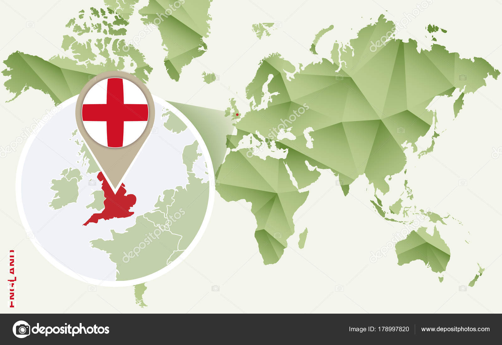 Carte Verte Angleterre.Infographic For England Detailed Map Of England With Flag