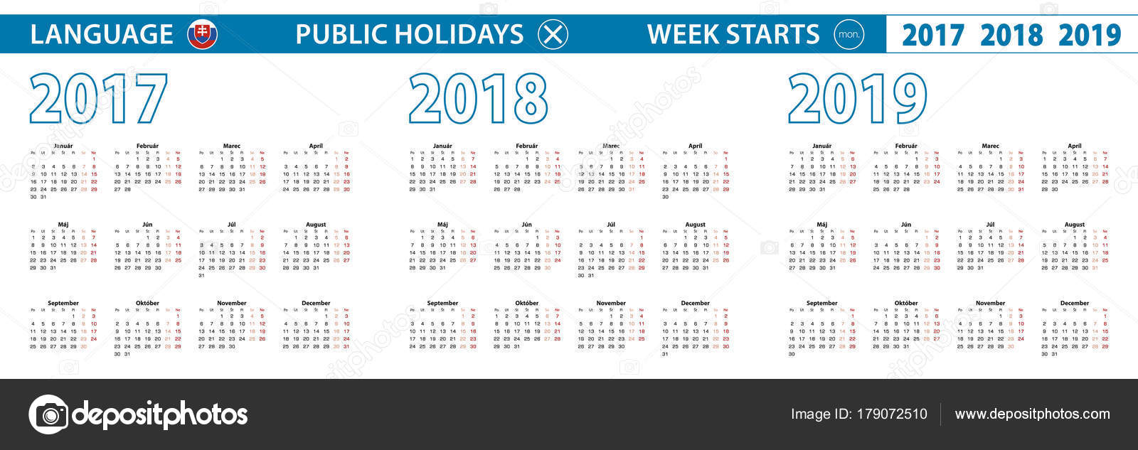 Simple calendar template in Slovak for 2017, 2018, 2019