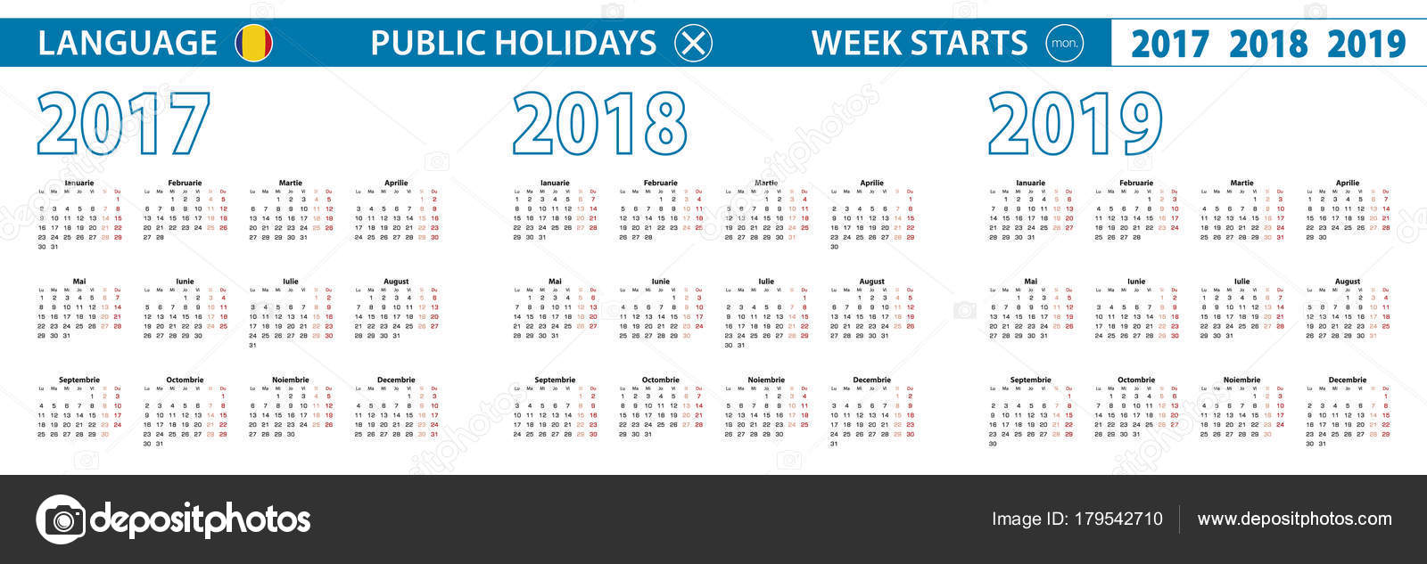 Calendario Romena 2019.Modelo De Calendario Simples Em Romeno Para 2017 2018 2019
