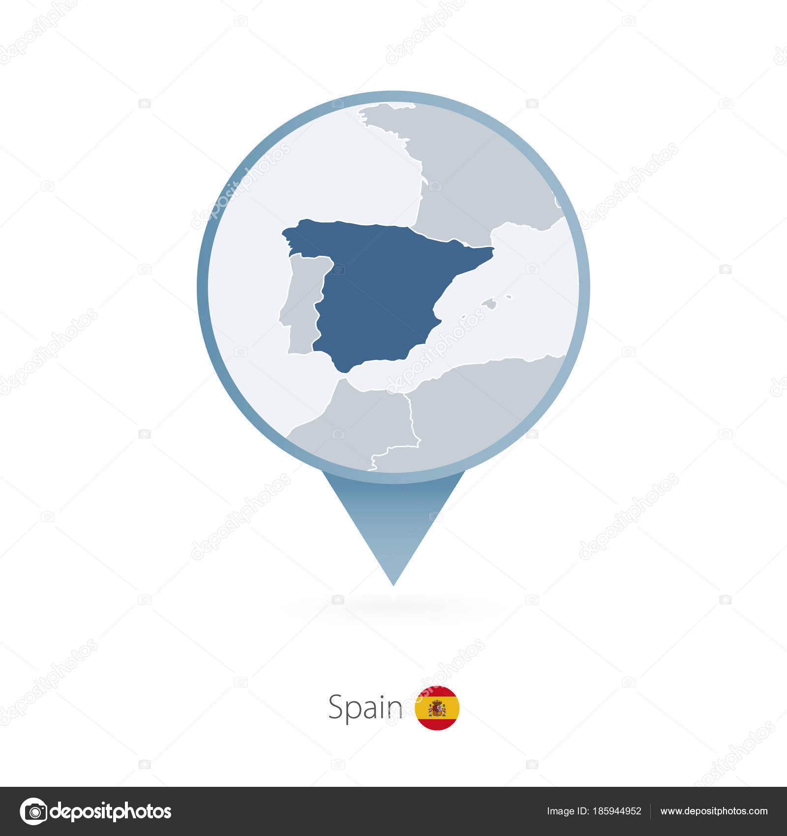 map pin with detailed map of spain and neighboring countries stock vector