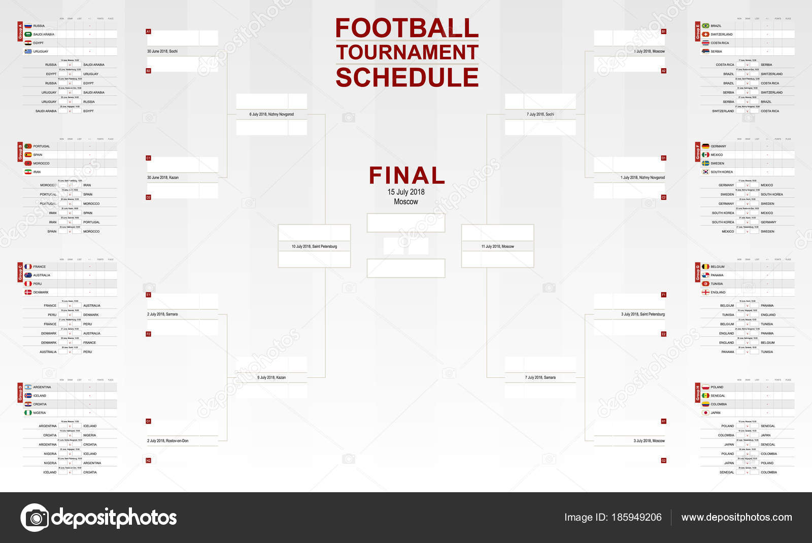 World Cup 2018 Schedule Vector