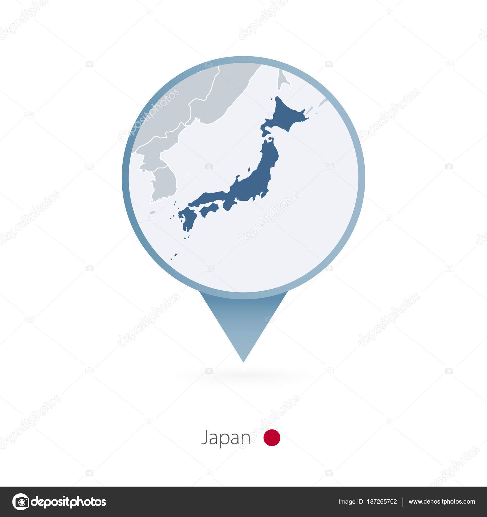 Map Pin With Detailed Map Of Japan And Neighboring Countries