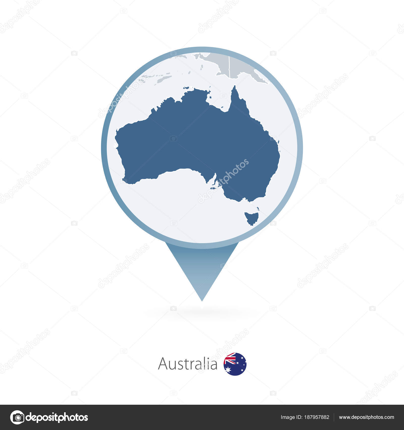 Map pin with detailed map of australia and neighboring countries map pin with detailed map of australia and neighboring countries stock vector gumiabroncs Images