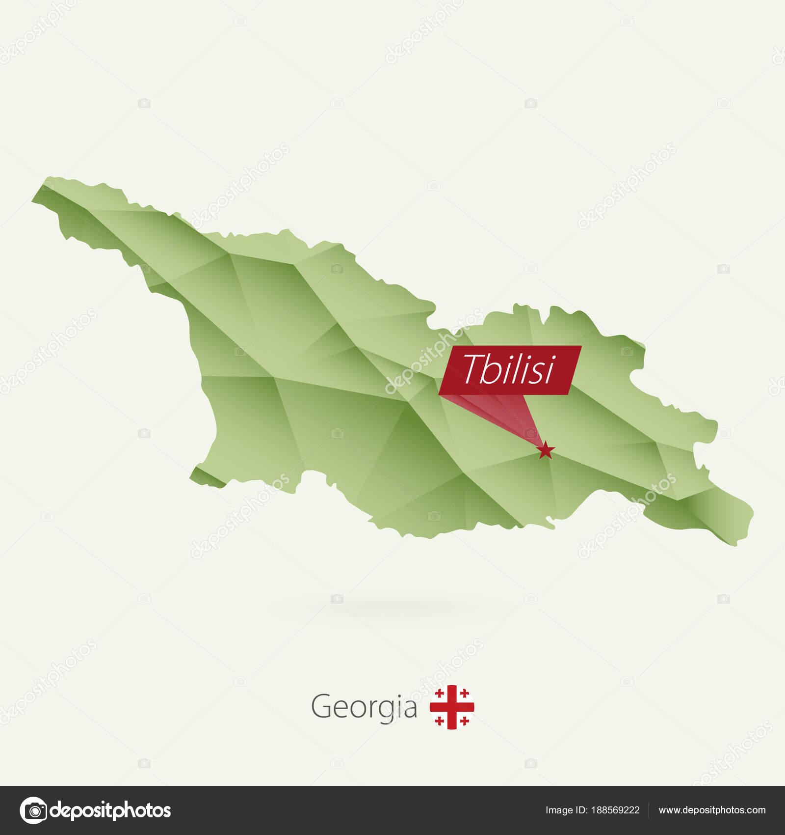 Map Of Georgia With Capital.Green Gradient Low Poly Map Of Georgia With Capital Tbilisi Stock