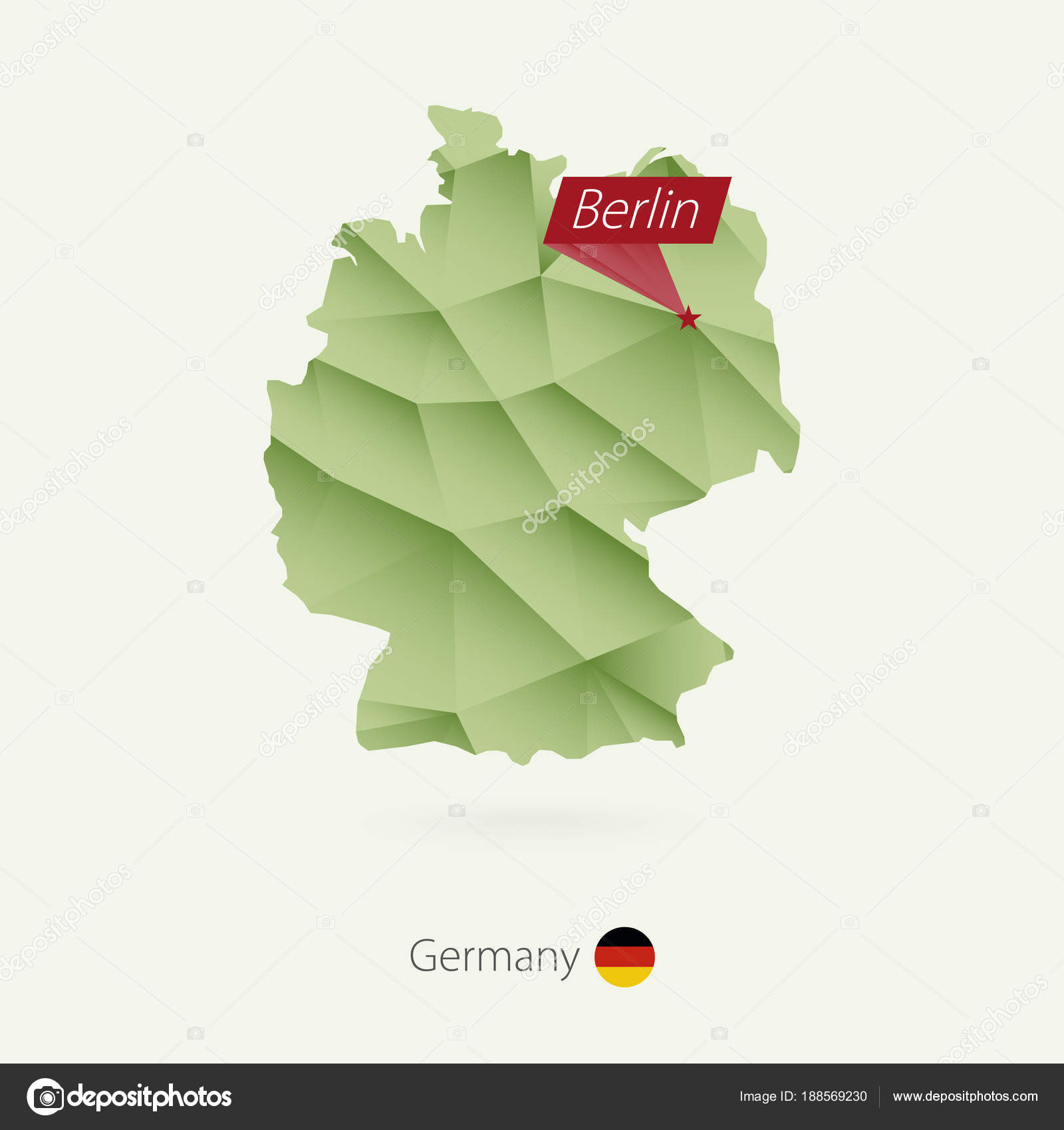 Capital Of Germany Map.Green Gradient Low Poly Map Of Germany With Capital Berlin Stock