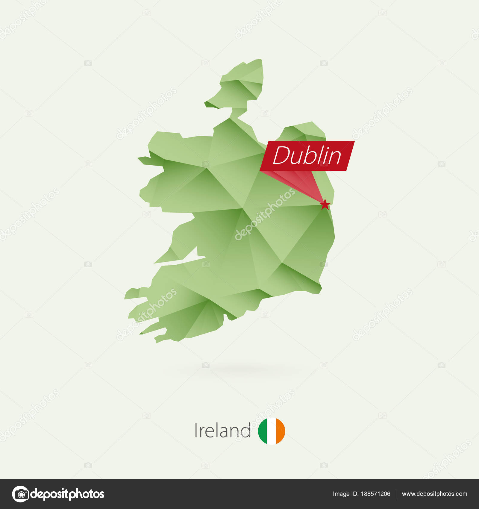 Green Gradient Low Poly Map Of Ireland With Capital Dublin Stock