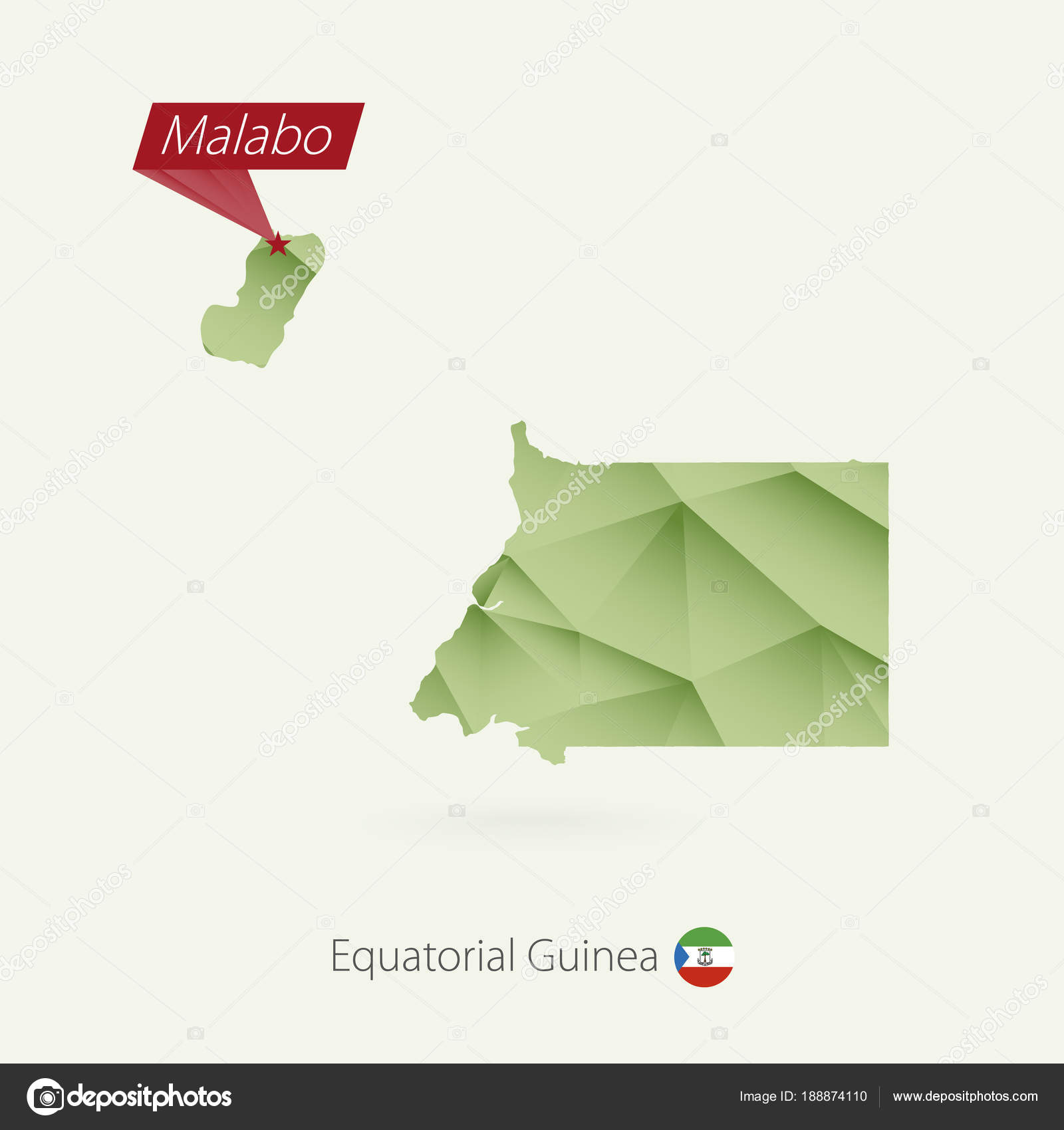 Green gradient low poly map of Equatorial Guinea with capital Malabo