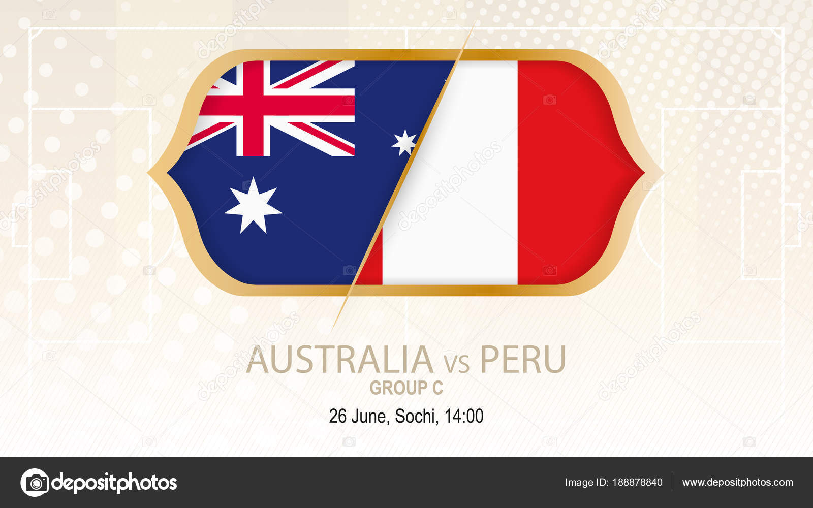 Australia Vs Peru Group C Football Competition Sochi On Beige Soccer Background Vector By Boldg