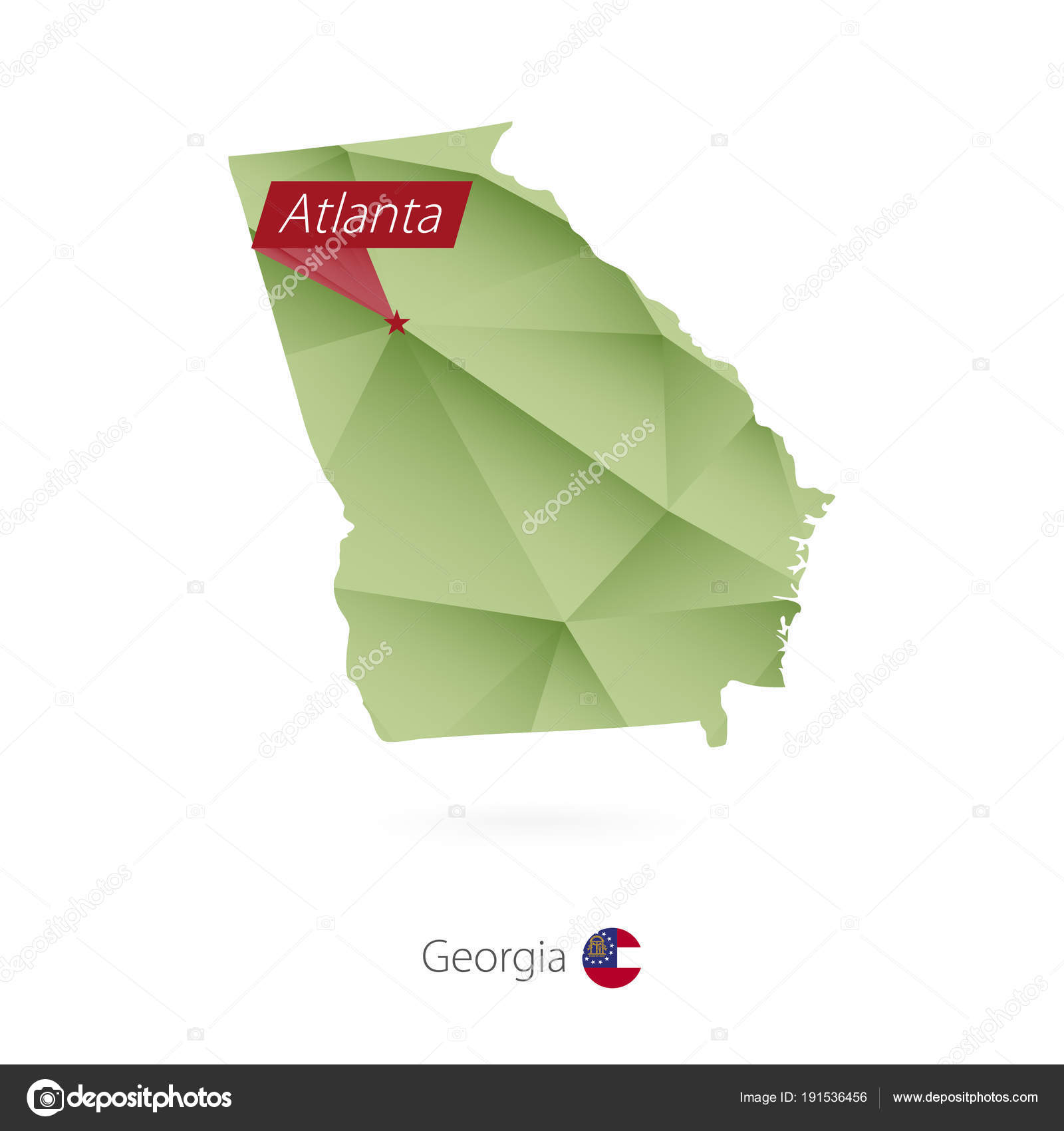 Map Of Georgia With Capital.Green Gradient Low Poly Map Of Georgia With Capital Atlanta Stock