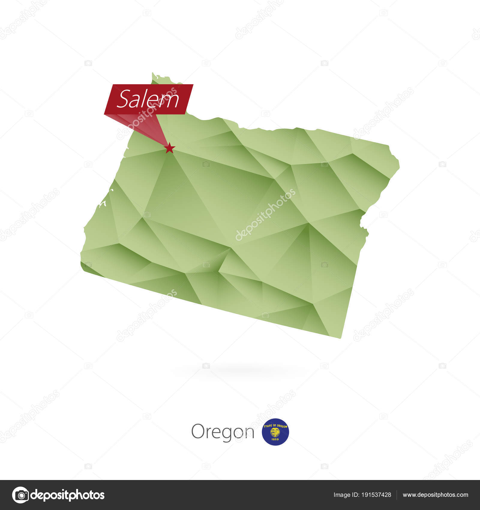 Capital Of Oregon Map.Green Gradient Low Poly Map Of Oregon With Capital Salem Stock