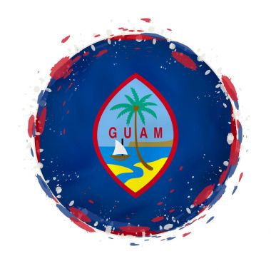 "Картина, постер, плакат, фотообои ""Круглая гранж флаг Гуама с брызгает в цвет флага. "", артикул 191548940"