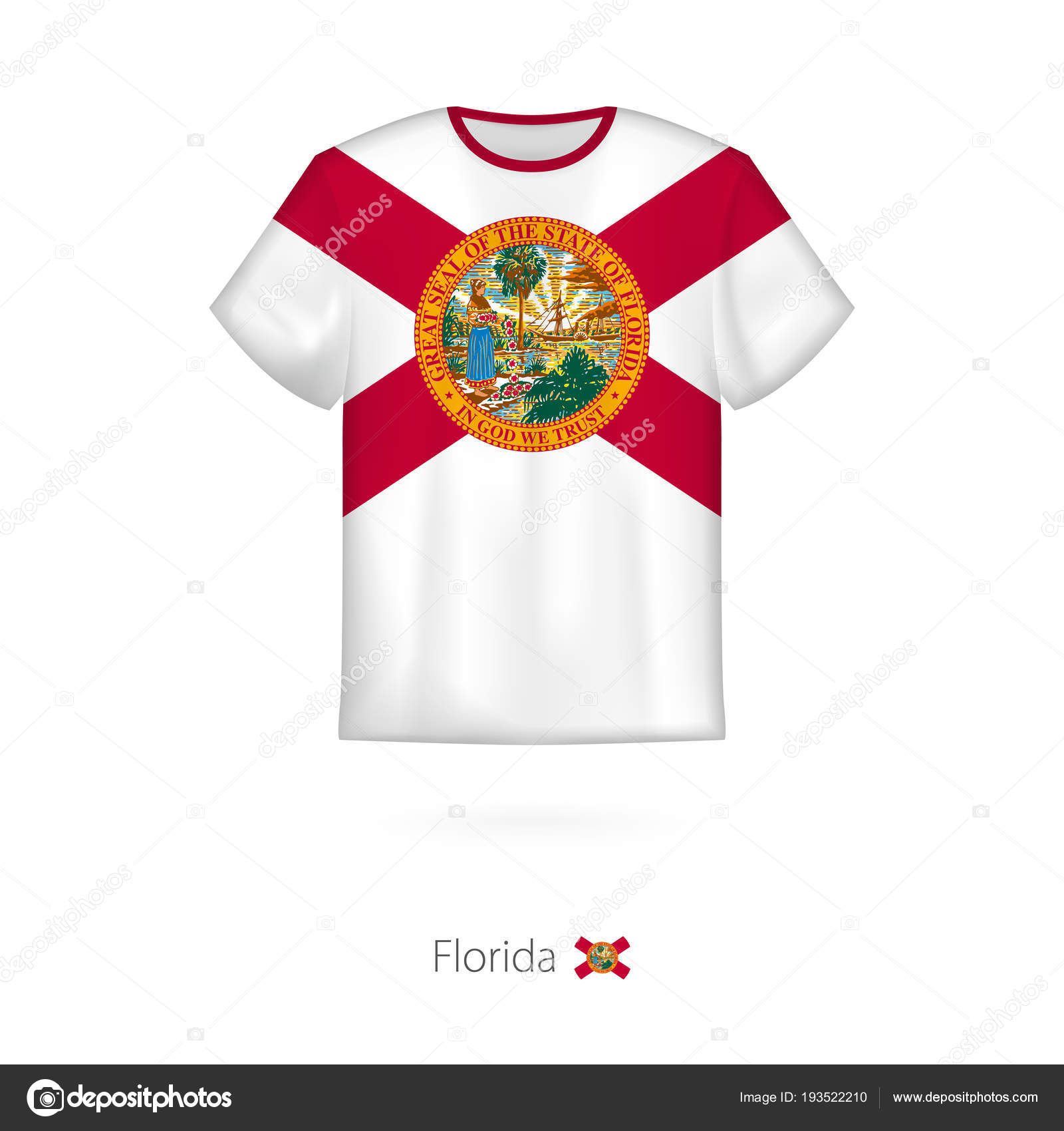 T Shirt Design With Flag Of Florida Us State Stock Vector