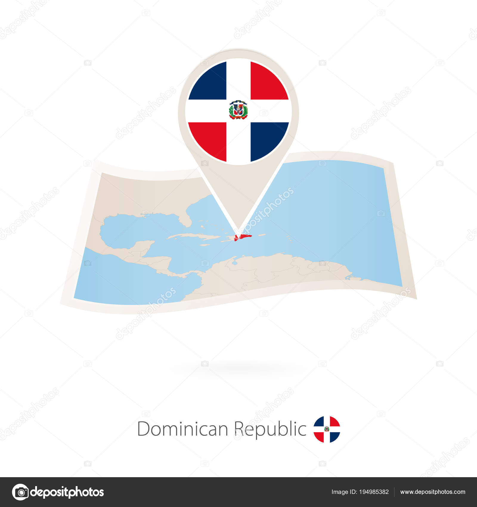 Folded paper map of Dominican Republic with flag pin of Dominican ...