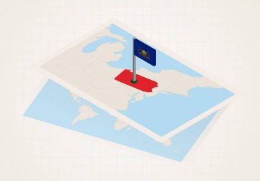 Pennsylvania state selected on map with isometric flag of Pennsylvania