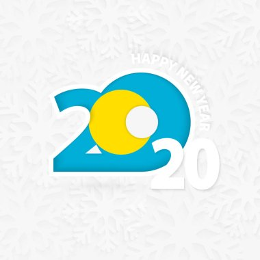 Happy New Year 2020 for Palau on snowflake background.
