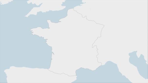Francie mapa zvýrazněna ve Francii vlajkové barvy a pin země hlavního města Paříže, mapa se sousedními evropskými zeměmi.