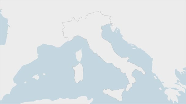 Italy map highlighted in Italy flag colors and pin of country capital Rome, map with neighboring European countries.