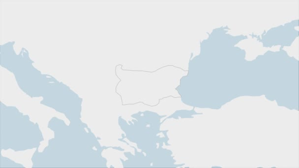 Bulgaria map highlighted in Bulgaria flag colors and pin of country capital Sofia, map with neighboring European countries.