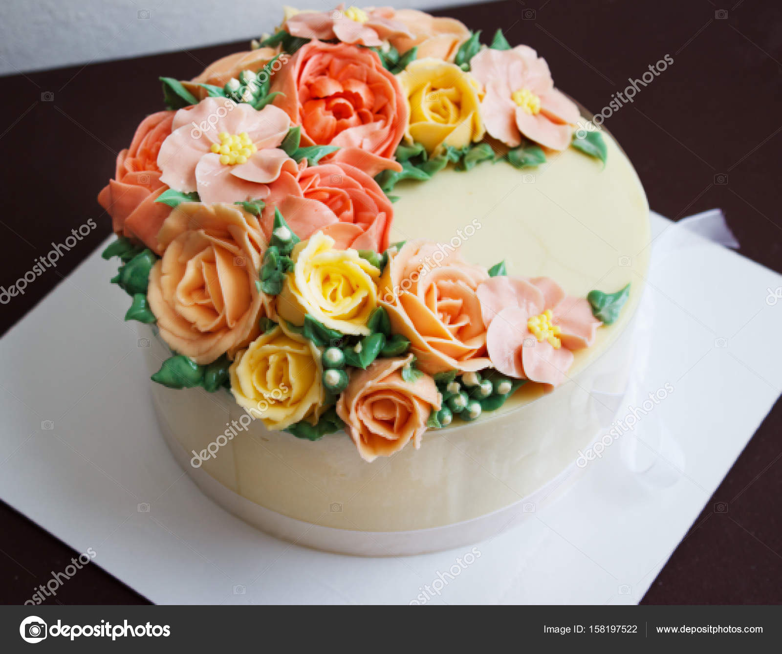 Birthday cake with flowers rose on white background stock photo birthday cake with flowers rose on white background stock photo izmirmasajfo