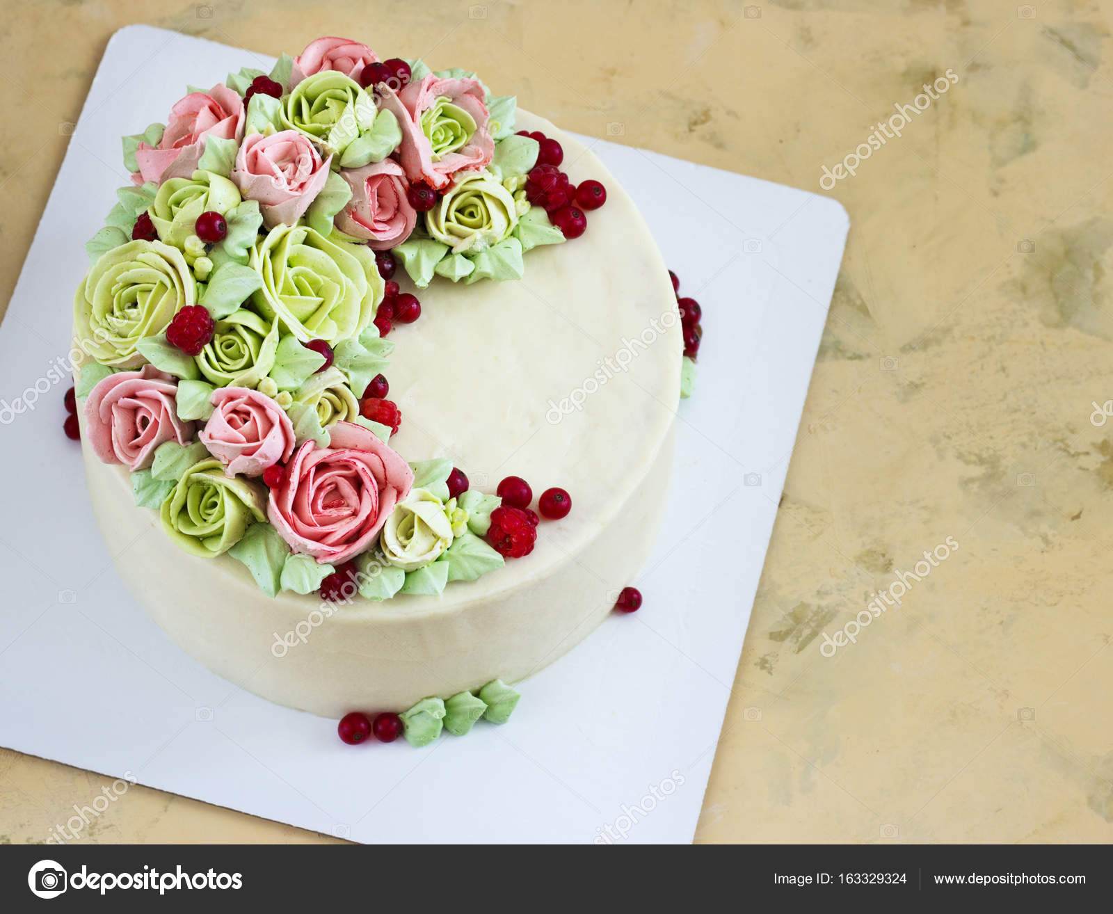 Birthday Cake With Flowers Rose On Light Background Stock Photo